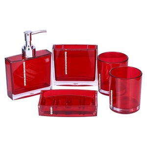 Bathroom Set Five Pieces Set of Bathroom Supplies Kits Bathroom Accessories acessorios para banheiro Red Purple