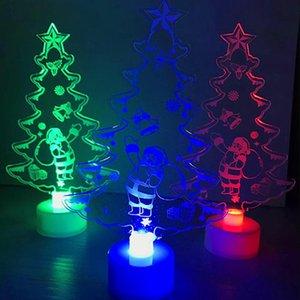 Sıcak Satış Akrilik LED Mini Yılbaşı Ağacı Çam Noel Dekorasyon Otomatik Renk değişimi Renkli Hediye Süsler