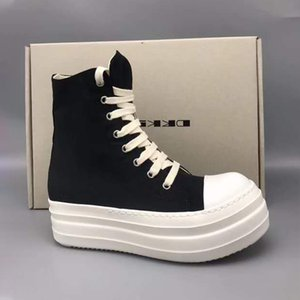 20 # 25 / 20D50 캔버스 블랙 여성 두꺼운 밑창 신발 통기성 플랫폼 패션 스니커즈 가을 하이 탑 여성 신발