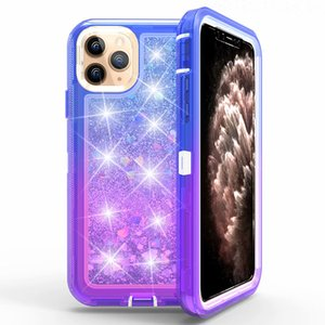 Gradient liquide Quicksand Glitter Brillant Case 3in1 Heavy Duty Case pour iPhone antichocs 11 pro max XS MAX XR 6 7 8 PLUS Samsung PRO note10