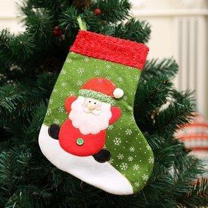 Cute Singel Small Christmas Stocking Santa Claus Snowman Holiday Gift Candy Bag