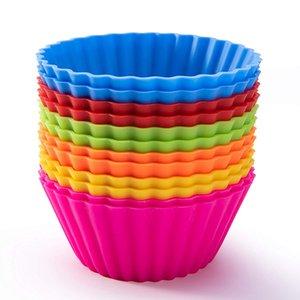 Copos de cozimento de silicone Forros de cupcake reutilizáveis Taças de muffin antiaderentes Moldes para bolos Muffin de silicone Cupcake Cup Cups 12 pacotes em 6 cores do arco-íris