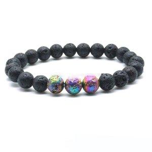 8MM Colourful Lava Rock Beads Chakra Bracelets Healing Energy Stone Meditation Mala Bracelet Essential Oil Diffuser Jewelry