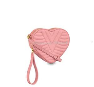 Dhm1998 Art und Weise neue Handtaschen-Dame-Liebe-Beutel Freier Verschiffen-Kosmetik-Beutel-Leder-Crafted Wasser-Kräuselung-Art-Schulter-Beutel-Rosa