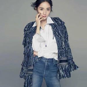 Pista Pinkoz de alta calidad de estilo de las celebridades de las mujeres capa de la chaqueta de Tweed CusualTassel Vintage chaqueta invierno