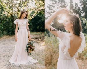 Lunares de encaje bohemio vestidos de novia de época de longitud completa delicada joya cuello sin respaldo rústico país jardín vestidos de novia