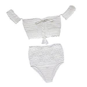 Frauen-Dame-Bohemian Zweiteiler Crochet mit hohen Taille und Badebekleidung Bikini-Satz-weiße Spitze Knit-Badeanzug-Badeanzug