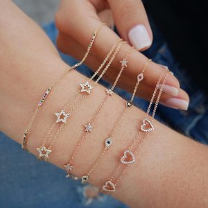 Three Piece Cz Star Charm Charming Bracelet 925 Sterling Silver Delicate Trendy Star Link Chain Cute Bracelets J 190429 J 190430