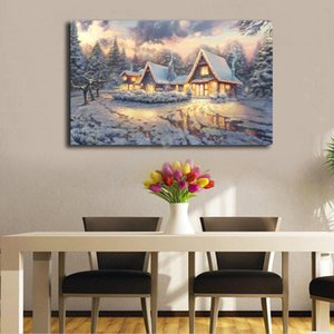 Thomas kinkade Christmas Lodge Wall Art Canvas Posters Prints Painting Wall Pictures For Bedroom Modern Home Decor Accessories