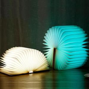 Großhandel LED Faltbare Holzbuch Form Schreibtischlampe Nachtlicht Buch licht USB Wiederaufladbare Neuheit Beleuchtung mit verpackung