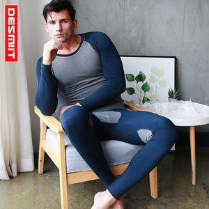 DESMIIT Fleece Thermal Underwear Men Long Johns Set Sexy Patchwork Winter Warm Gay Mens Thermo Clothes Shirt+leggings Pants