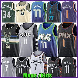Luka Giannis 34 77 NCAA Antetokounmpo Kyrie Doncic de basket-ball Jersey 11 7 Kevin Irving Durant Devin 1 Booker Kristaps 6 Porzingis Jerseys