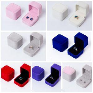 순수한 컬러 스웨이드 제안 반지 상자 미니 높은 등급의 보석 반지 목걸이 팔찌 스토리지 박스 휴일 파티 선물 WY441Q
