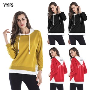 2020 Large Size Womens Color Matching Fake Two-Piece Drawstring Hooded Sweater Spring New Top Womens Hot Sale
