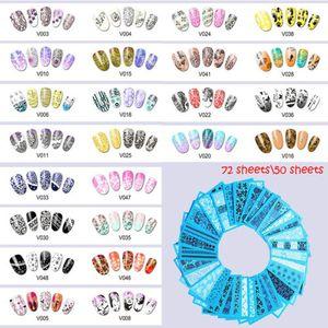 50 \ 72 Yapraklı Karışık Filigran Çıkartmaları Su Transferi Nail Art Sticker DIY Tasarımları