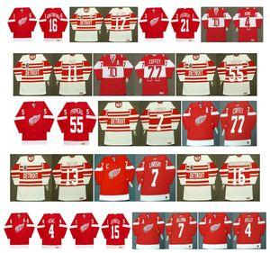 빈티지 디트로이트 레드 윙즈 유니폼 77 PAUL COFFEY 11 SHAWN BURR 55 KEITH PRIMEAU 7 Ted Lindsay 13 VYACHESLAV KOZLOV 7 NORM ULLMAN CCM Hockey