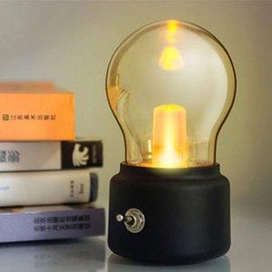 Noche Retro Vintage recargable del estado de ánimo del accesorio ligero USB cabecera del escritorio Lámpara de mesa portátil amarillo luces JK0268