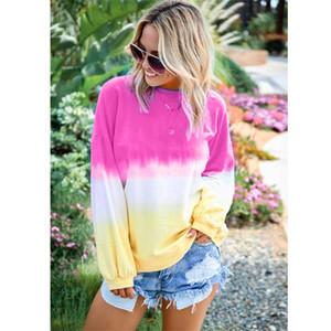 Las mujeres del arco iris sudaderas sombra del color del gradiente de manga larga de cuello redondo suéter con capucha Tops Tie Dye paño grueso y suave más el tamaño de otoño tee Tops B82201
