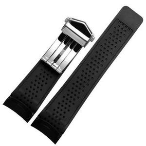 STOKTA ETIKETI IÇIN Izle Bantları Etiketi 22mm 24mm Saat Kayışı Etiketi için Siyah Dalış Silikon Kauçuk Delik Band Kayışı paslanmaz Çelik Değiştirme