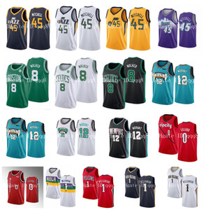 Donovan 45 Mitchell Ncaa Damian 0 Lillard Zion 1 Williamson 12 Ja Morant 8 Kemba Walker 2020 New Mens Bordado Colégio Basquete Jerseys