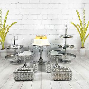 9 adet / takım Altın Gümüş Tatlı Tepsisi Kek Ekran Ev Dekorasyon Düğün Doğum Günü Kristal Ayna Kek Standı