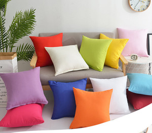 45*45CM Home Square Pillowcase Fashion Pure Color Sofa Throw Cushion Cover Pillow Case Blank Christmas Decor 50pcs T1I1640
