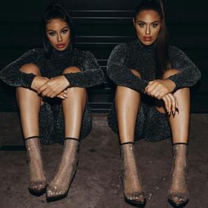 2020 Designer Air Mesh Net Bling Donne Scarpe Donna Estate Stivali alti talloni sottili sexy sandalo femminile