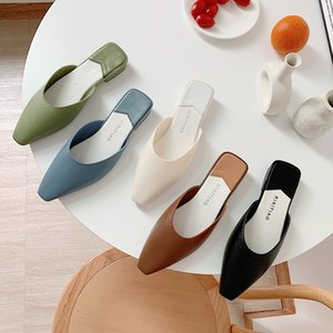 Fashion Pointed Toe Mules Women Summer Slippers Candy Color Flats Slip-on Holiday Ladies Sandals Slides PU Women Shoes