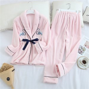Женщины фланели с длинными рукавами пижамы набор Winter Soft Touch Lady Пижамы Cute руно Pattern Женский Главная Одежда