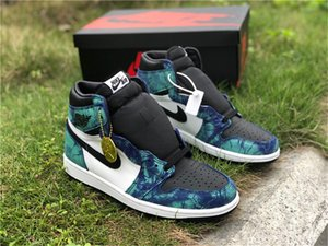 2020 New Release Nike air jordan retro  1 High OG Tie Dye 1s White Black-Aurora Green Mens Basketball Shoes CD0461-100 Designer sneakers size5.5~13