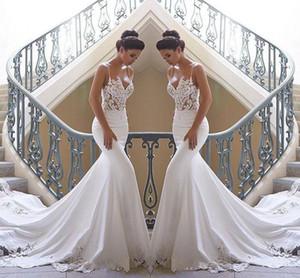 2020 Mermaid Beach espaguetis correas vestidos de novia de encaje apliques de encaje satinado barrido tren vestidos de boda de Boho de novia Vestidos de boda BC0190