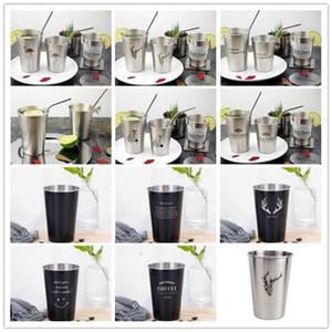 Vasos de acero inoxidable estilo INS Cepillo de dientes Pareja Copa de una sola capa vaso de cerveza simples flamenco Industrial Agua Fría tazas 500ml LXL985-1