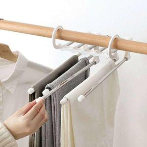 Lenço Hanger Aço inoxidável rack duráveis Gancho Pants Hanger ABS retráteis Roupa Plastic Closet Branco multifuncionais