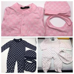 Recém-nascido Roupa do bebé macacãozinho bebê Jumpsuit Cotton Tops + chapéu + Bib 3Pcs Outfit Roupas Set Recém-nascido Romper da criança Kids Clothes