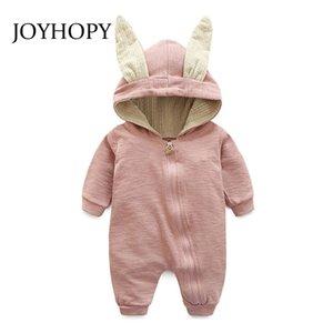 Joyhoy-Spielanzug-Kinder scherzt nettes Kaninchen-mit Kapuze langes Hülsen-Overall-Produkt, Baumwollneugeborener Baby-Spielanzug Q190520