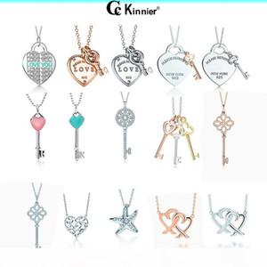 Оригинальные ювелирные изделия Real стерлингового серебро 925 Любовь сердце кулон ожерелья ключа с роскошным свадебным подарком Множественного выбором цвета