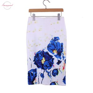 Graffiti Blue Rose Print Girls Middle Skirt Women Pencil Skirts The Western Fashion Design Vogue Ladies Slim Bottoms Wholesale