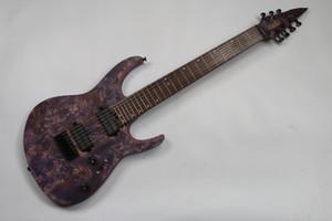 Purple electric guitar 7 strings guitar black walnut and african mahogany guitar,ash body,black hardware,