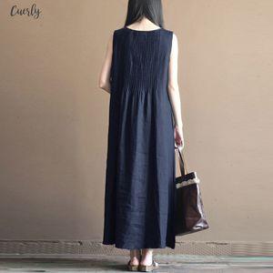 Summer Party Dress Women Solid Sleeveless Pleated Long Maxi Dresses Beach Vestido Linen Robe Femme Oversized Sundress 5Xl