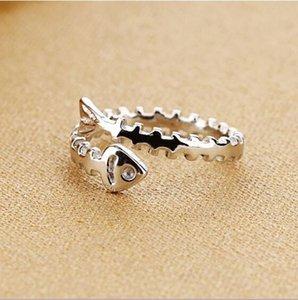 bijoux en argent sterling gros argent sterling de poisson anneau ouvert bone ring157 argent plaine
