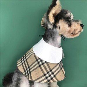 ربيع الخريف الحيوانات الأليفة عباءة مع قبعة بدلة الكاكي نمط الشبكة البريطانية الكلاب الملابس تيدي أفطس كورجي ملابس الحيوانات الأليفة كيب + كاب
