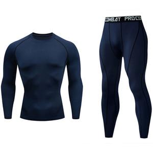 ropa interior térmica traje capa de base de los hombres de compresión térmica Deportes de deporte de los hombres de Ejecución T200415 tamaño medias Long Johns S-4XL Plus