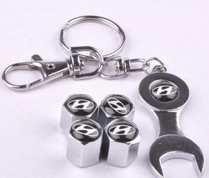 New Hot Venda Car válvula do pneu da roda Caps com Mini Chave Keychain para Hyundai (4-Piece / Pack)