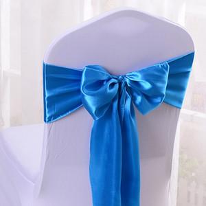 Satin Noeud papillon Ribbon Chair Cover Sash Bandes Hôtel Banquet Chair Decor Noce Decoratif 17 * 275cm