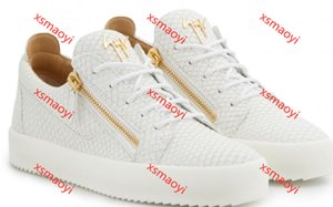 Giuseppe Zanotti Rouge Fond Pour Hommes Femmes En Cuir Sneakers Parti Chaussures Hococal Hommes Sneakers low cut Spikes Appartements Chaussures