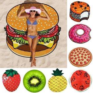 2020 new Polyeater Beach Towel Tapestry Hamburger Fruit Print Picnic Mat Beach Blanket for Home Wall Art Decoration