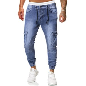 Men's Plus-size Denim Trousers In Plain Colored Casual Jeans with Strings Drawn From Europe and America
