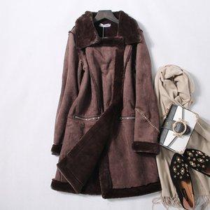 여자 모직 코트 가을과 겨울 모피 자켓 스웨이드 탑 따뜻한 겉옷 윈드 파킹 롱 자켓 새로운 패션 의류