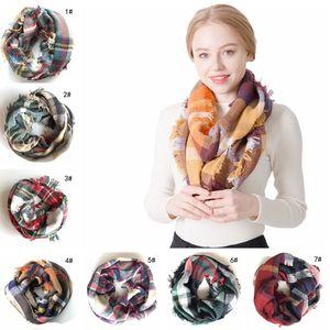 Mode Femme Plaids Infinity Echarpes Grille Boucle Echarpe Lady Tartan Surdimensionné Châle Treillis Enroulé Couvertures Frangées TTA1776