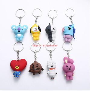 40 teile / satz Silikon Kpop Handy Keychain Anime 3D Bangtang Auto PVC Kinder Keychain Schlüsselhalter Tasche Anhänger Charme Fans Geschenk